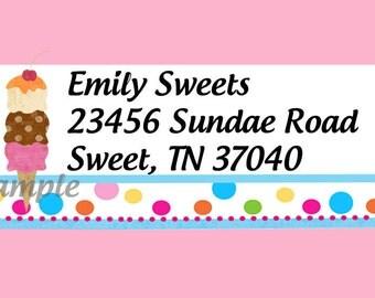 Ice Cream Birthday Party Printable DIY Digital Return Address Labels