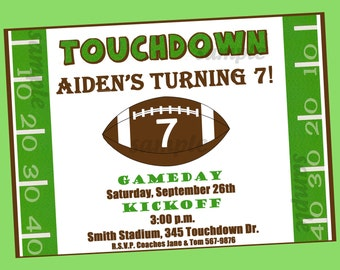 Football Invitation Printable or Printed with FREE SHIPPING - Touchdown Collection