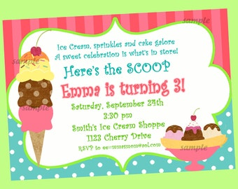 Ice Cream Invitation Printable or Printed with FREE SHIPPING - Sweet Shoppe Collection
