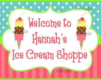 Personalized Ice Cream Birthday Party Door Sign Printable - Sweet Shoppe Collection