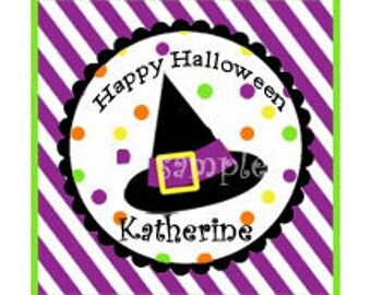 Personalized Halloween Treat Tags or Labels - Witch Favor Tags