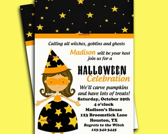 Halloween Invitation Printable - Starry Witch Collection- You pick Hair Color/ Skin Tone