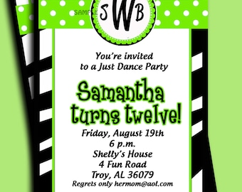 Monogram Invitation Printable or Printed with FREE SHIPPING - Chic Lime and Black Zebra