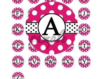 50% OFF SALE - Instant Download - Pink Polka Dot Alphabet 1 Inch Circle Bottle Cap Image Collage for Crafts and Scrapbooking