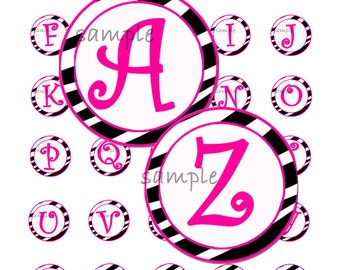 Pink Zebra Girl Alphabet 1 Inch Circle Bottle Cap Image Collage for Crafts and Scrapbooking
