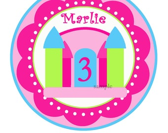 Printable Bounce House Birthday Iron on Image, Large Printable Circle, Centerpece Topper - Posh Princess Collection