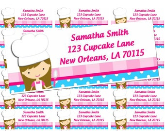 Chef Cupcake Baking Birthday Return Address Labels Printable - Sweet Little Bake Shoppe (You Pick Hair Color/Style)