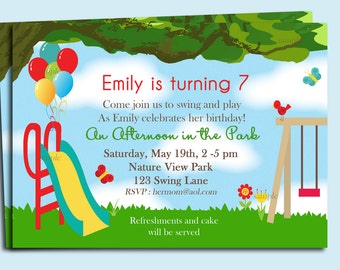 Park Playground Birthday Invitation Printable or Printed with FREE SHIPPING- Under the Oaks