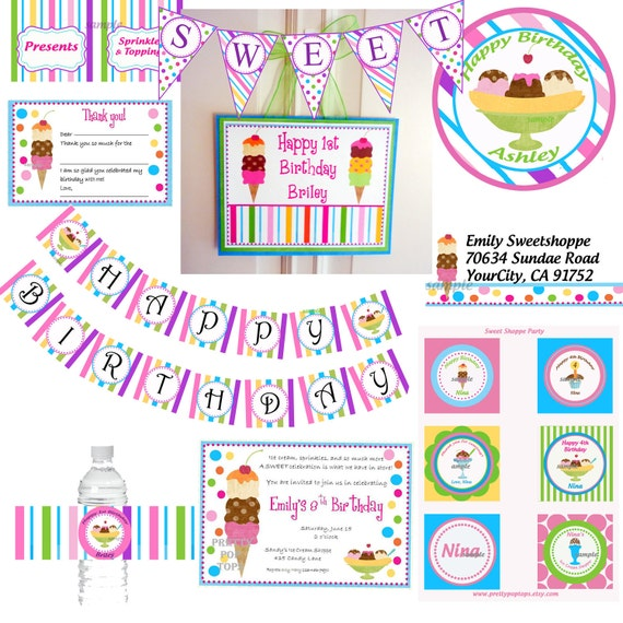 Personalized Ice Cream Party Printables Ultimate Party Package - Sweet Shoppe Ice Cream Party Collection