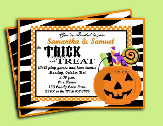 Halloween invitation printable trick or treat collection by that il570xn stopboris Image collections