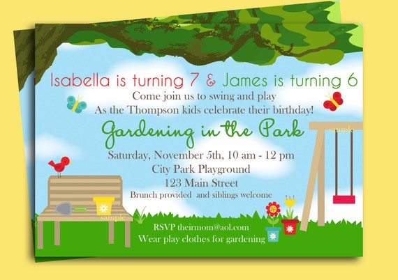 Park Playground Birthday Invitation Printable or Printed with FREE SHIPPING - Gardening in the Park