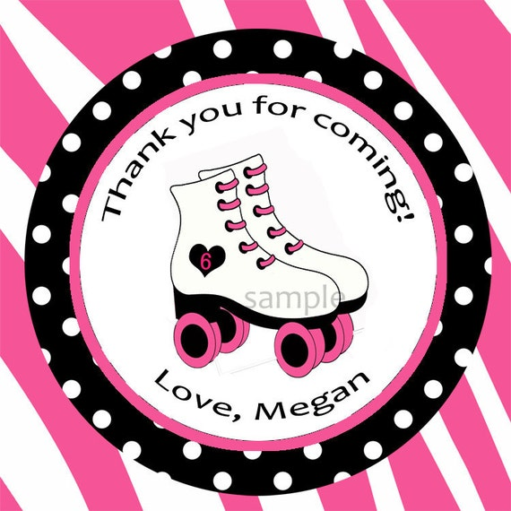 Roller Skate Favor Printable or Printed with FREE SHIPPING - ANY Wording