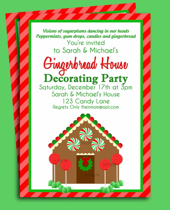 Gingerbread House Invitation Printable Christmas Party or – Gingerbread Party Invitations