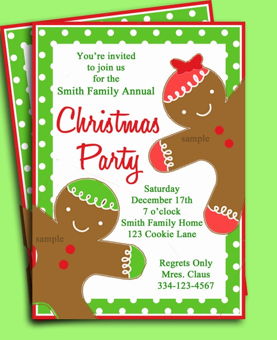 Christmas Party Invitation Printable Gingerbread Kid