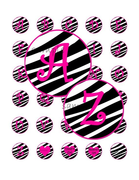 Pink Zebra Girl Alphabet 1 Inch Circle Bottle Cap Image Collage for Crafts and Scrapbooking Plus Bonus