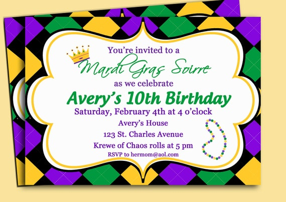 mardi gras invitation printable or printed with free shipping, Birthday invitations