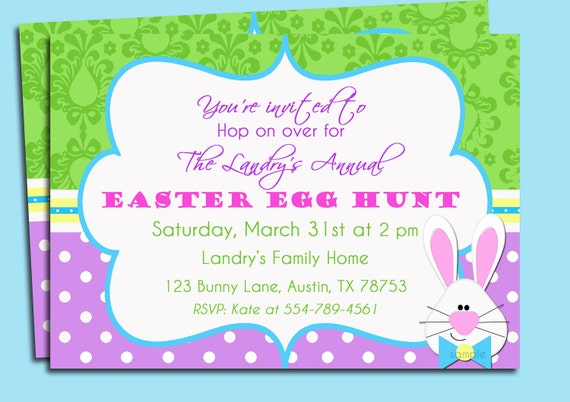 Easter Bunny Damask Invitation Printable or Printed with FREE