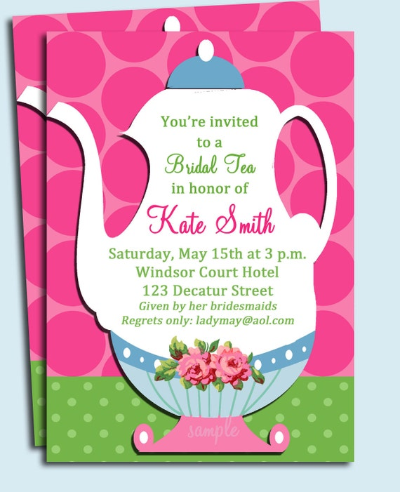 Tea Party Invitation Printable Or Printed With Free Shipping