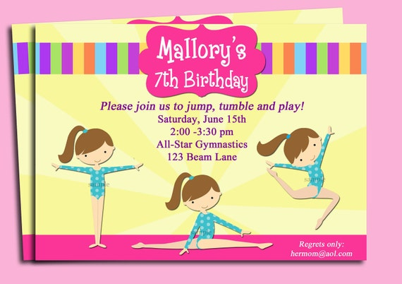 Gymnastics Invitation Printable or Printed with FREE SHIPPING - You Pick Hair Color/Skin Tone