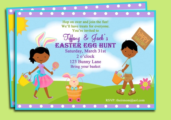 easter egg hunt party invitation printable or printed with, party invitations