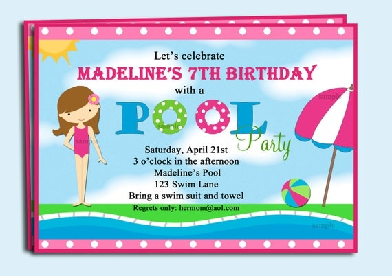 Pool Party Invitation Printable or Printed with FREE SHIPPING - You pick hair color/style & skin tone