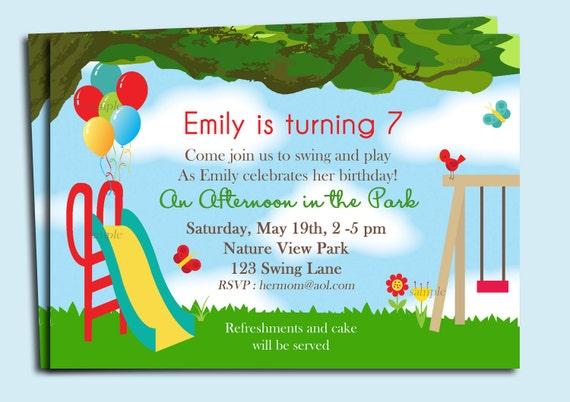 Park Playground Birthday Invitation Printable or Printed with – Park Birthday Invitations