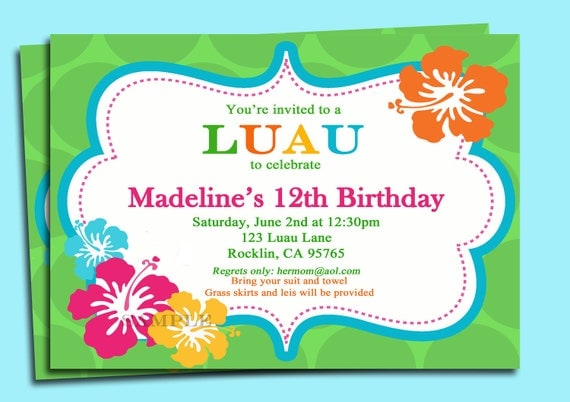 luau invitation printable or printed with free shipping, Birthday invitations