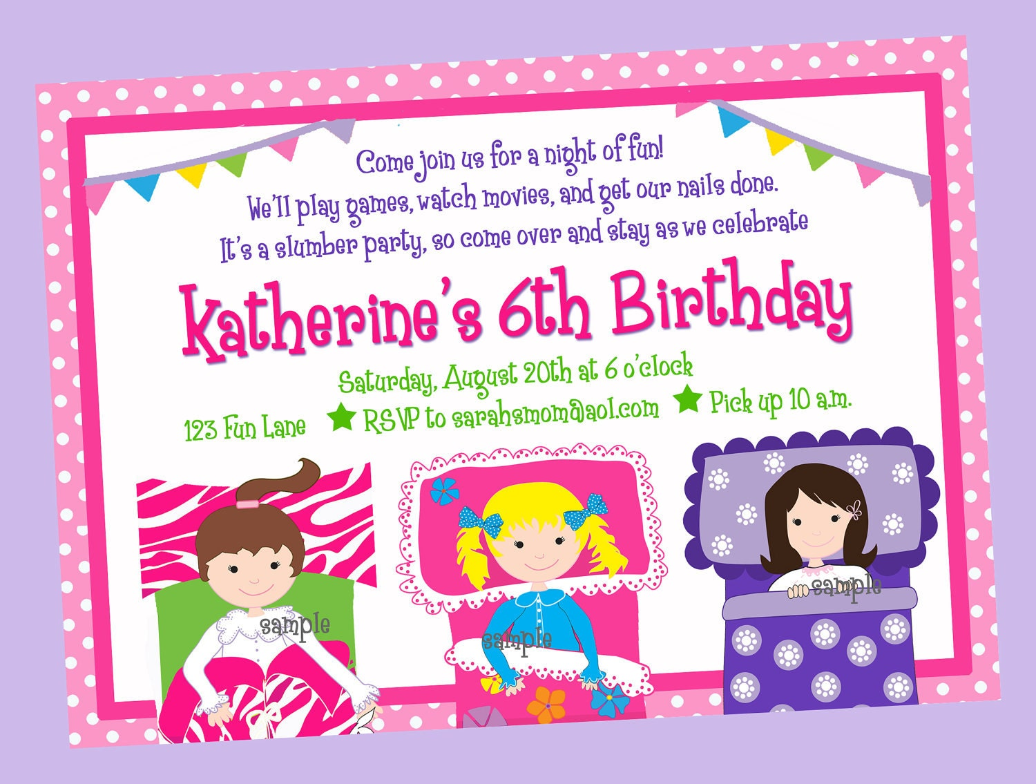 Sleepover Slumber Party Pajama Party Invitation Printable or – Pajama Party Invites