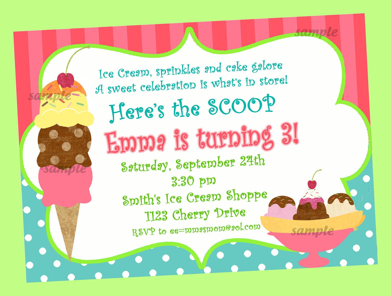Ice Cream Invitation Printable or Printed with FREE SHIPPING – Ice Cream Birthday Party Invitations