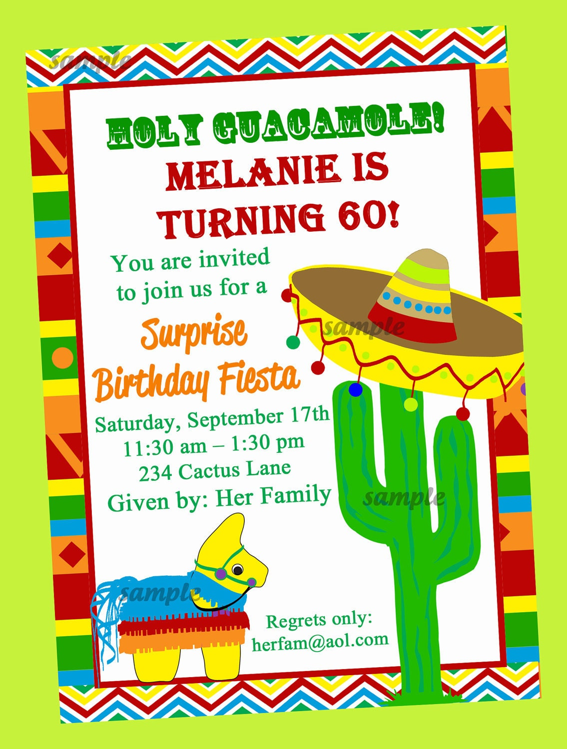 Fiesta Party Invitation Printable or Printed with FREE – Free Dinner Invitations