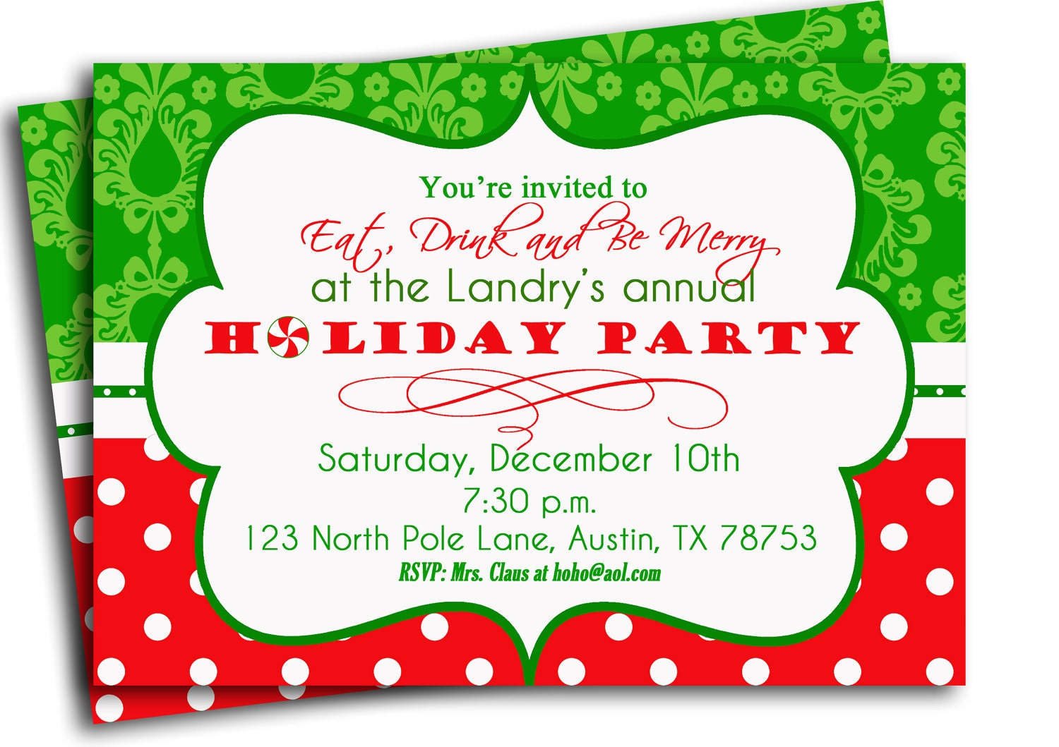 Christmas Party Invitation Printable Traditional Holiday – Invitations to Christmas Party