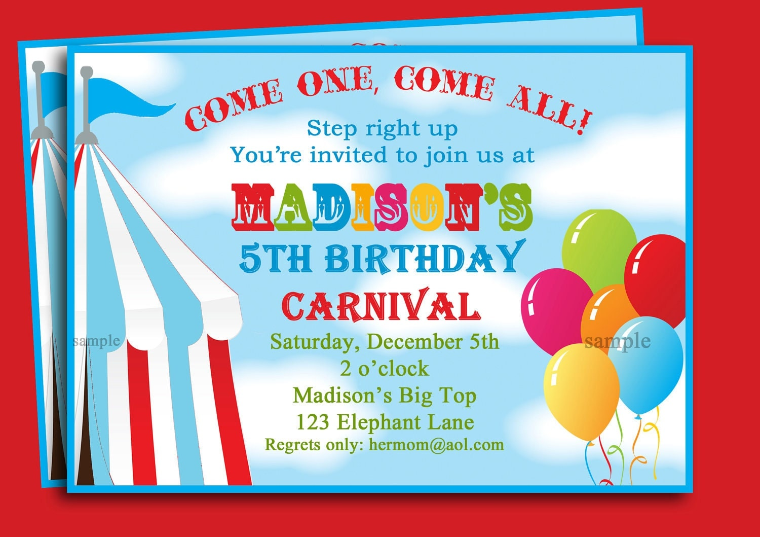 Circus Carnival Birthday Invitation Printable or Printed with – Free Printable Carnival Birthday Invitations