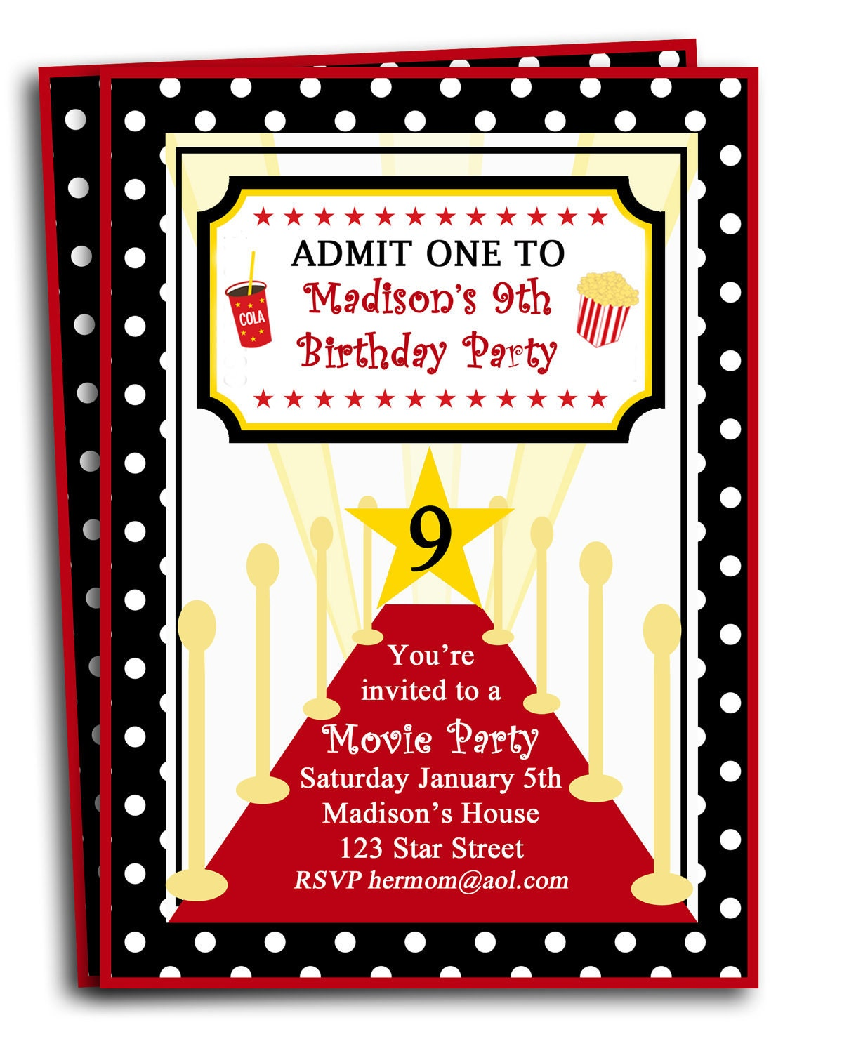 Red Carpet Party Invitation Printable Or Printed With FREE