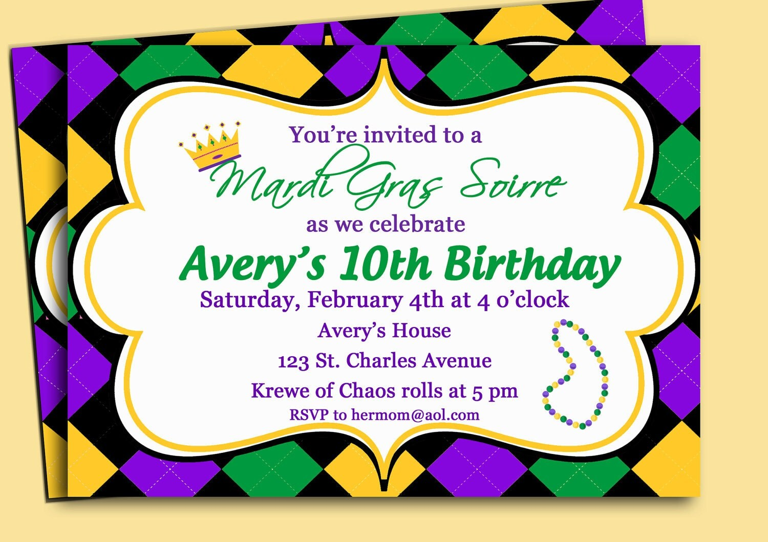 Mardi Gras Invitation Printable or Printed with FREE SHIPPING