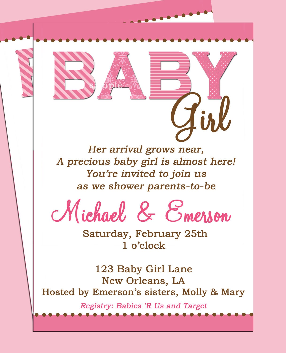Baby Shower Invitation Printable Or Printed With FREE SHIPPING