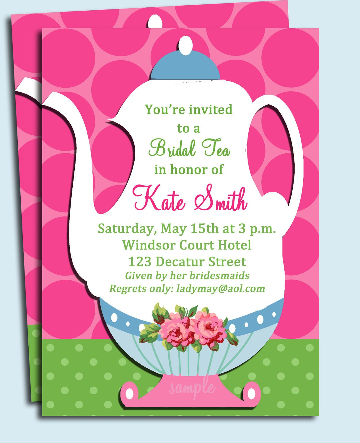 Tea Party Invitation Printable or Printed with FREE SHIPPING – Kids Tea Party Invitations