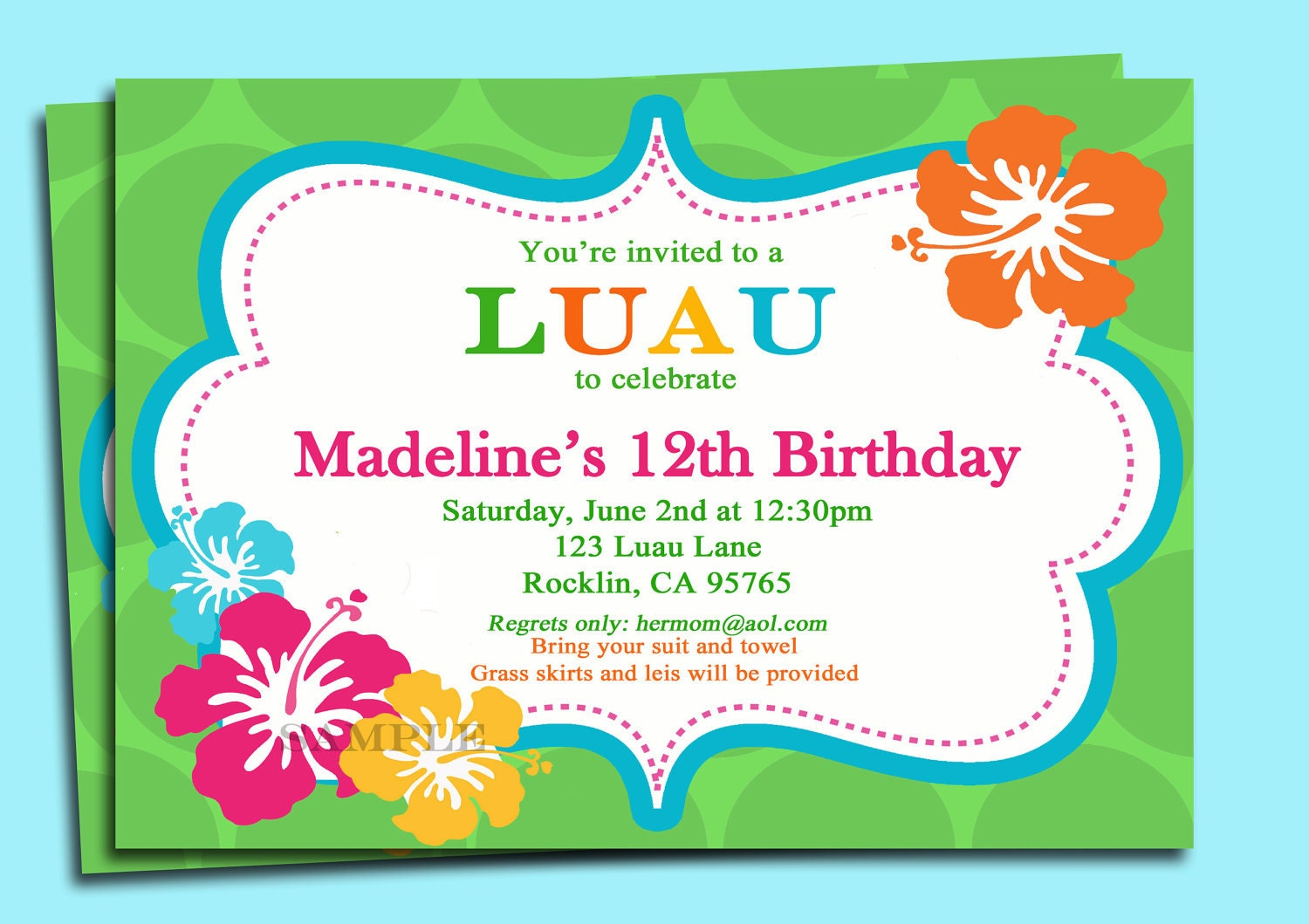 Luau invitation printable or printed with free shipping zoom stopboris Gallery