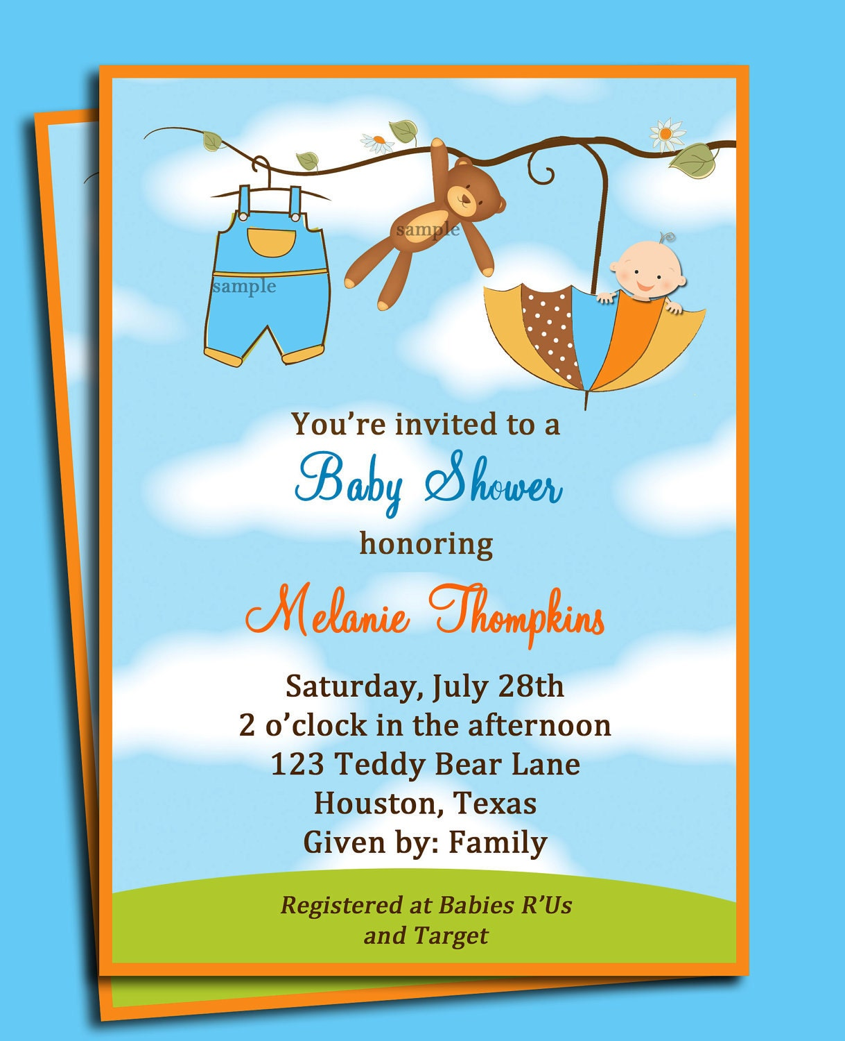 Baby Shower Invitations Wording For Boys: Teddy Bear Umbrella Boy's Baby Shower Invitation Printable