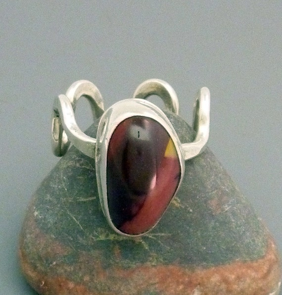 Freeform Mookite Jasper and sterling silver ring with adjustable band