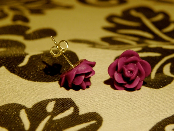 Earrings/ Studs/ Jewelry/ Women/ Violet Rosebud Earrings