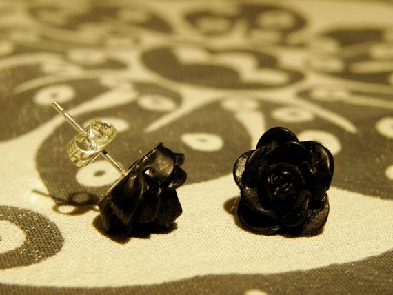 Earrings/ Studs/ Jewelry/ Women/ Black Rosebud Earrings
