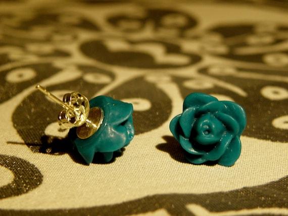 Earrings/ Studs/ Jewelry/ Women/ Teal Rosebud Earrings