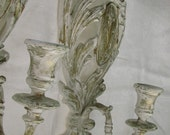 French Medallion Shabby Chic Candle Sconces // White Gold accents // by Syroco Inc.
