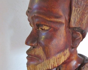 Americana Wise Old  Man Wood Carved Bust Sculpture / Folk Art