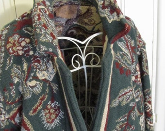 Multi-green Cotton Tapestry Jacket Coat by Painted Pony Texas