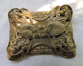Large Antique Art Nouveau // Victorian Bronze Brass Brooch // Sash Pin // Flowers