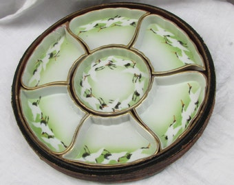 Antique Oriental SweetMeat / Relish Serving Platter /Lacquered Tray  with hand painted Swans, Asian mark