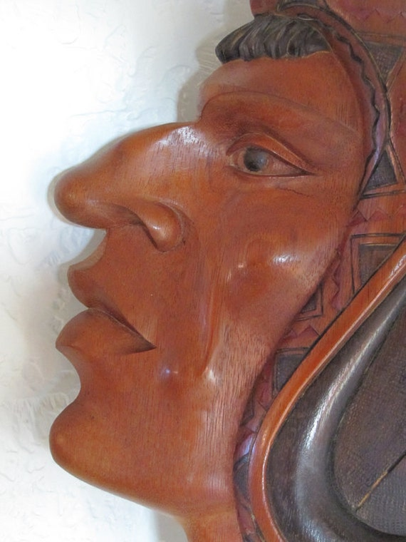 Carved Wood Face Wall Mask // Incan Warrior // Wall Hanging
