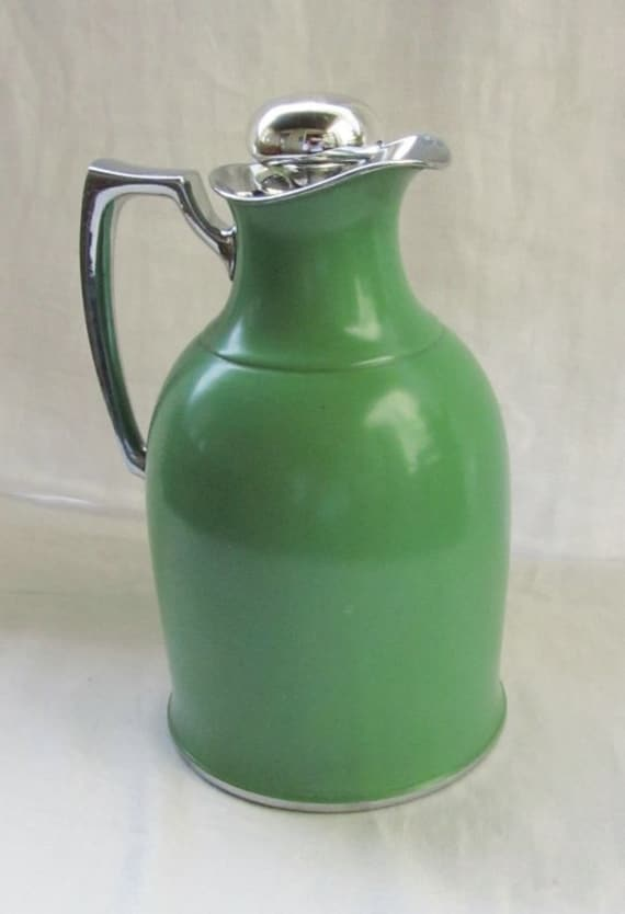Antique Green Mercury Glass Pitcher Stopper by Landers Frary & Clark