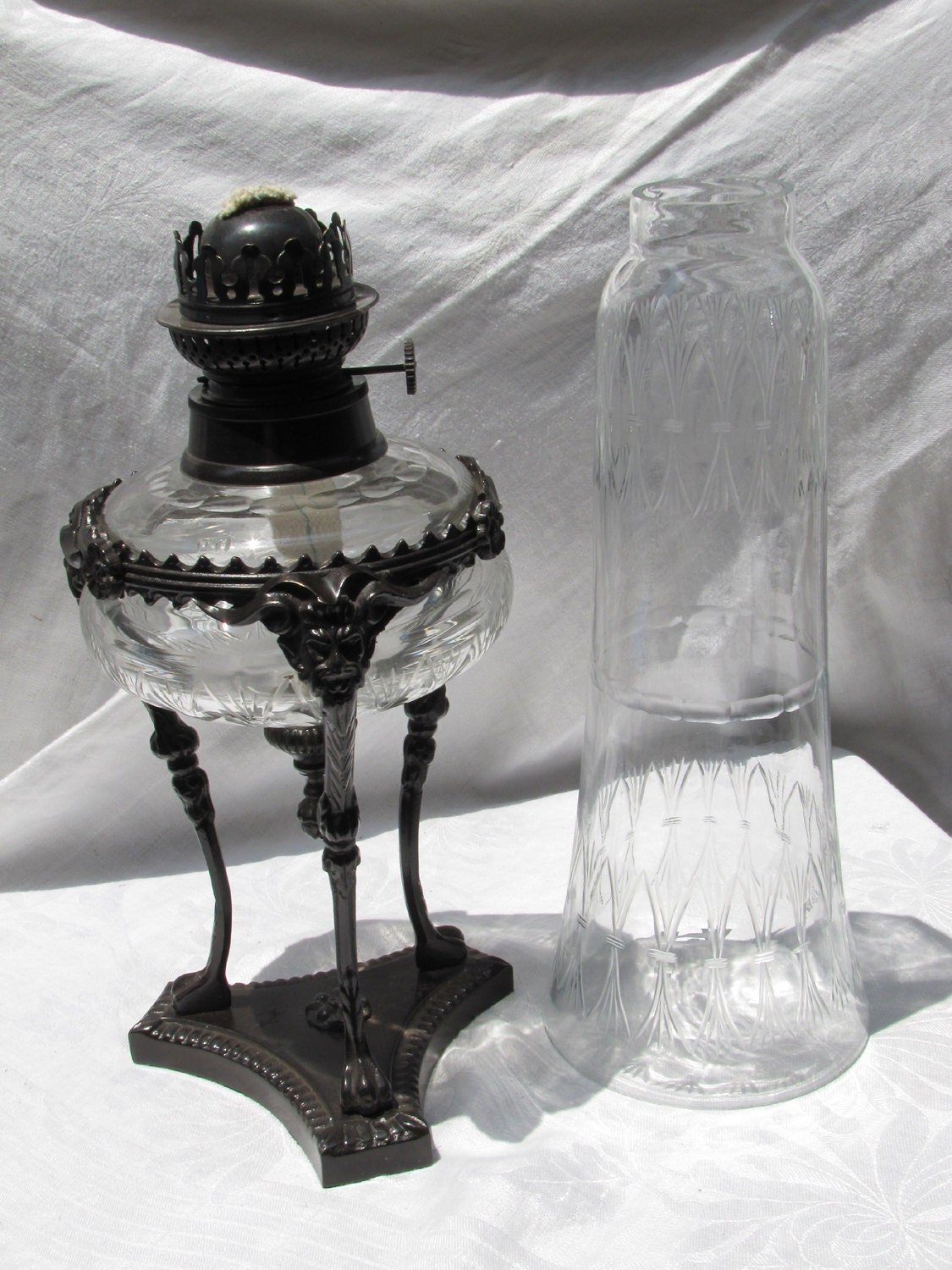 Enormous Cut Crystal And Gargoyle Oil Lamp With Heavy Metal